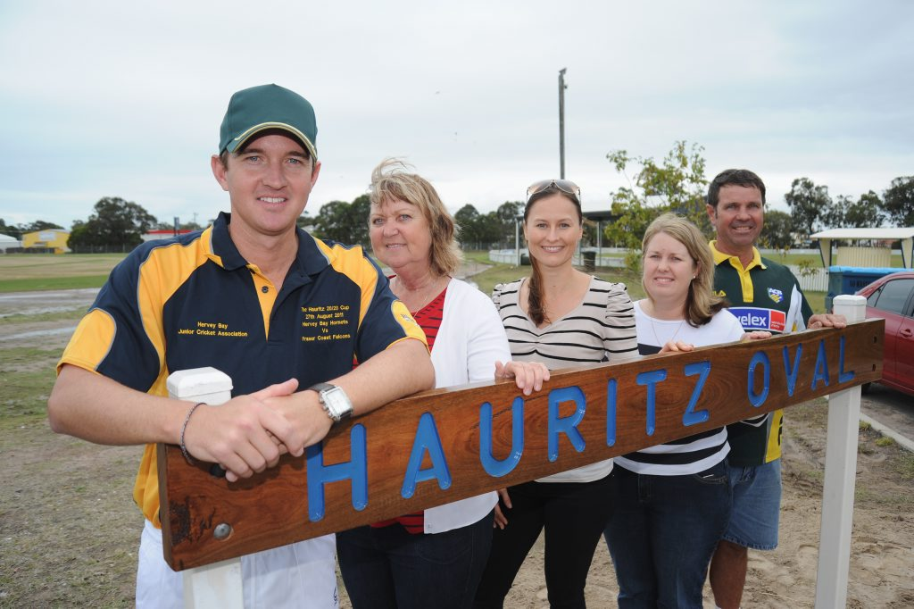 Nathan Hauritz day at Hervey Bay cricket grounds - the opening of Hauritz Oval. (L) Nathan, Julie, Dianne, Simone Weekes and Terry. Photo: Alistair Brightman / Fraser Coast Chronicle
