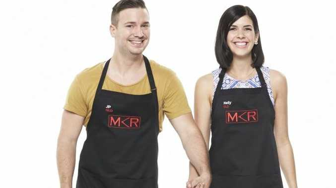 My Kitchen Rules contestants JP and Nelly from the Little Mountain on the Sunshine Coast. Supplied by Channel 7.