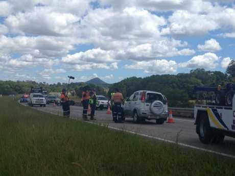 A car reportedly rolled twice before landing on its wheels are it was involved in a collision with a ute in the southbound lanes of the Bruce Hwy at North Arm.