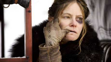 Jennifer Jason Leigh in a scene from the movie The Hateful Eight.