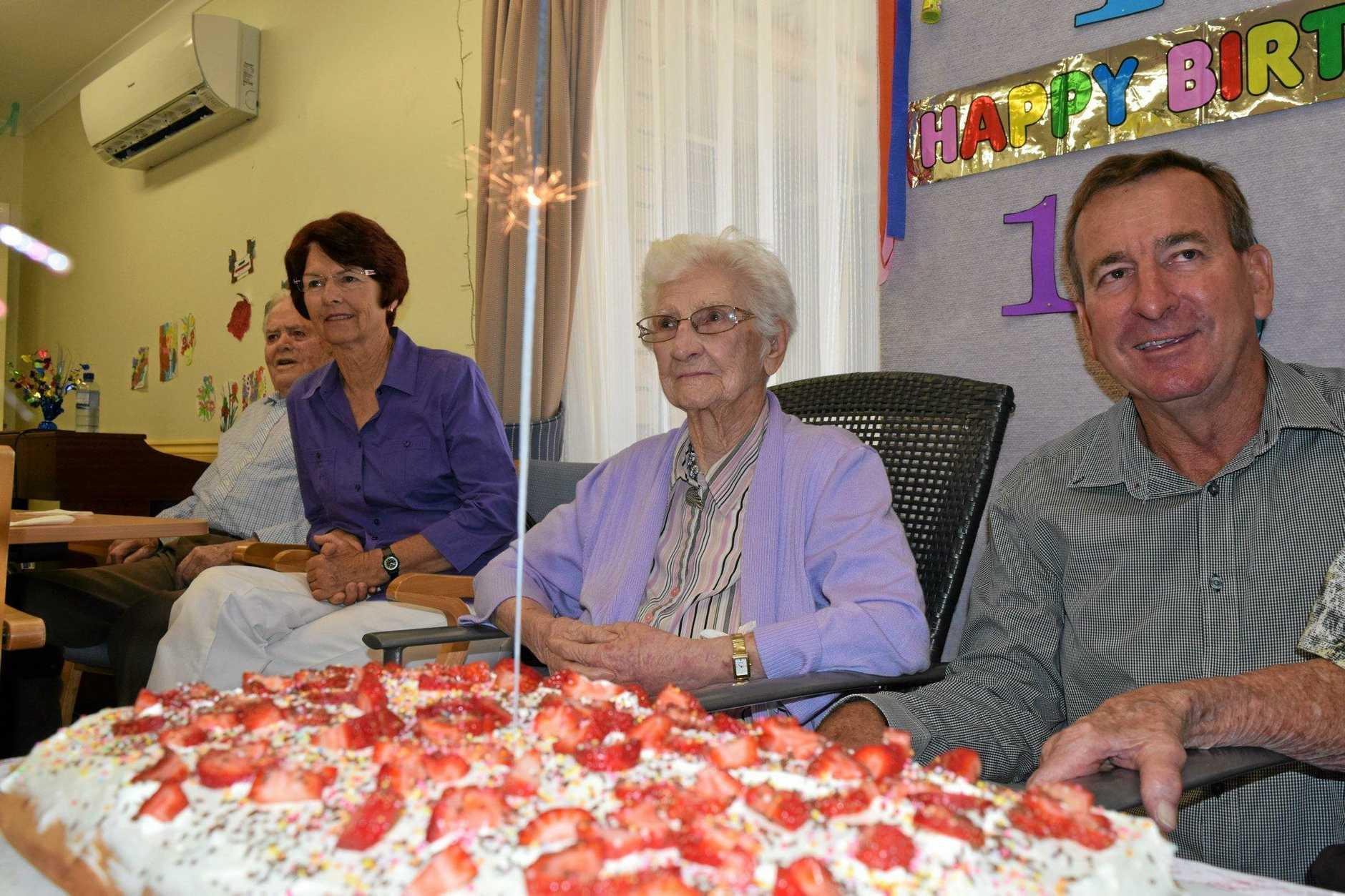 Pinaroo resident Olive Reade celebrated her 106th birthday alongside fellow resident Dexter Kruger, where she got a visit from mayor Robert Loughnan.