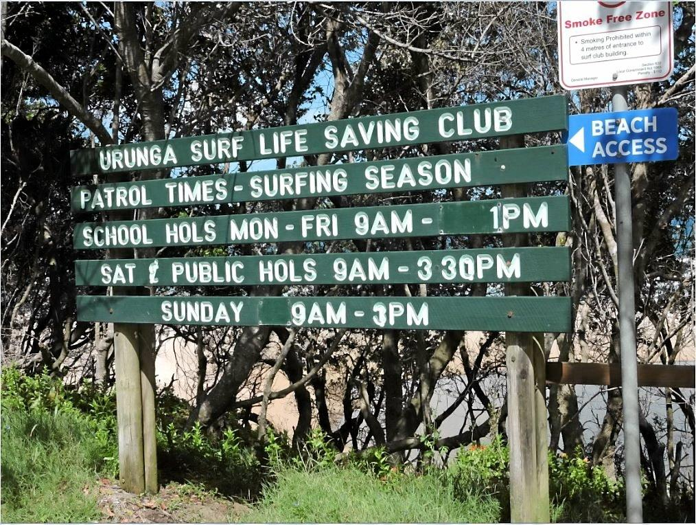 The sign near the entry to Hungry Head beach spells out patrol hours.