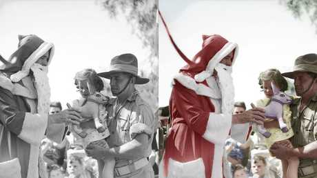 Christmas Day in Perth, 1945, a man dressed as Santa gave out presents to children who lost their fathers who served in World War 2.