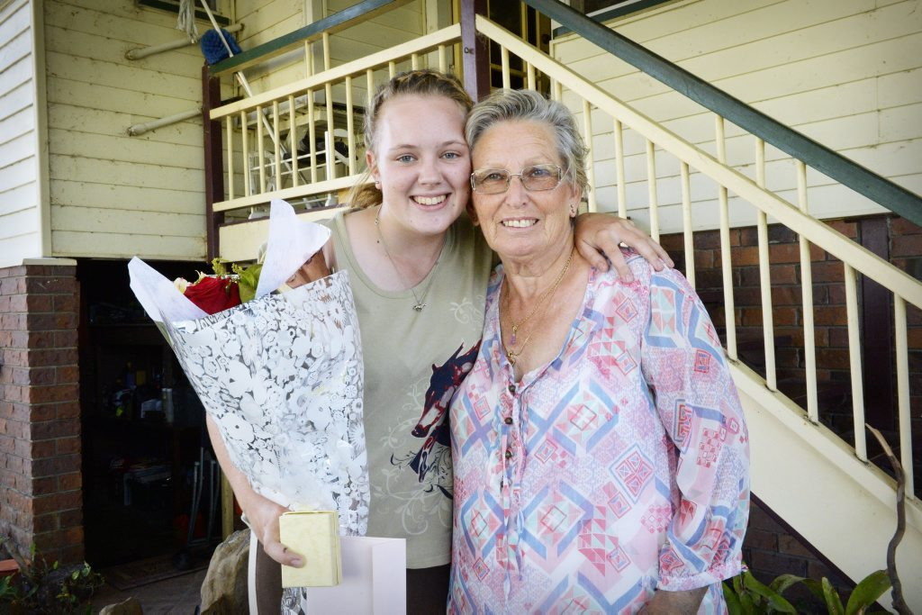 Rebecca Crook helped Edna-Mae Grimmett-Green by driving her to hospital after she was bitten by an eastern browns snake. Photo Inga Williams / The Queensland Times