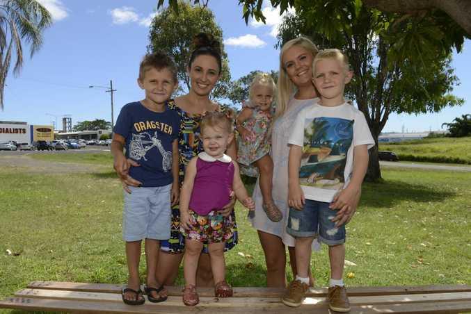TIMING: Eli, Kirsten and Aylah Hansen with Addison, Miranda and Eli Lammin. Photo: Mike Knott / NewsMail