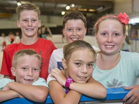( Back from left ) Jack Hill, Connar Feltham and Elizah Feltham. ( Front from left ) Kai Hill and Danni Griffin at the Toowoomba Ice Skating rink in the Founders Pavillion at the Toowoomba Showgrounds .