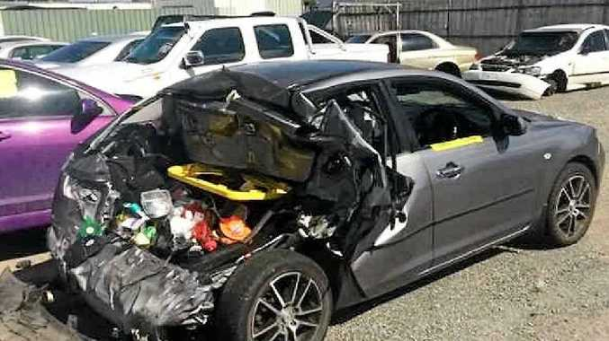 Ryan Tarver's Mazda 3 crumpled when it was rear ended by a Toyota Hilux on Blain Dr.