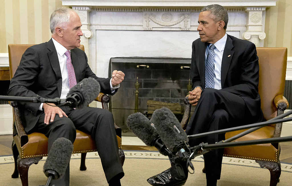 MEETING OF MINDS: Australian Prime Minister Malcolm Turnbull and US President Barack Obama discuss the fight against terrorism during a meeting in the Oval Office.