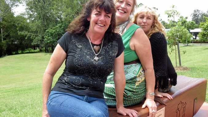 Sandy Szoko, Susan Osborne and Georgina Steriovich at the baazar site in Kyogle.