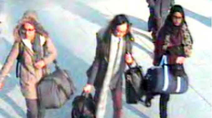 Amira Abase, Kadiza Sultana and Shamima Begum were caught on CCTV at Gatwick airport on their way to Syria via Turkey