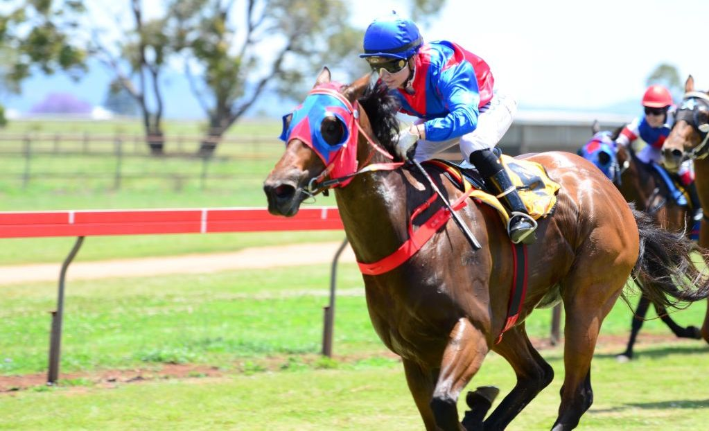 Hannah English scoring on Squeemi for trainer Patrick Sexton at Kumbia's Melbourne Cup day meeting.