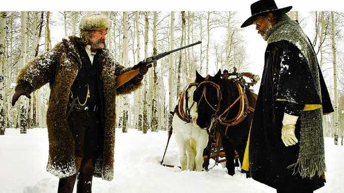 Kurt Russell and Samuel L Jackson in a scene from The Hateful Eight.