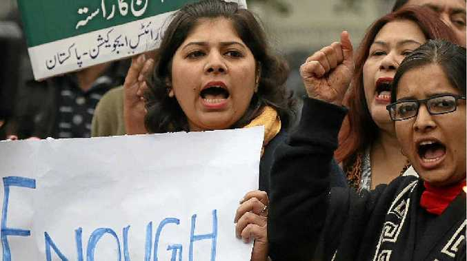 IN KARACHI: Outraged members of a student group in Karachi condemn the attack on Bacha Khan University. Shakil Adil/ap