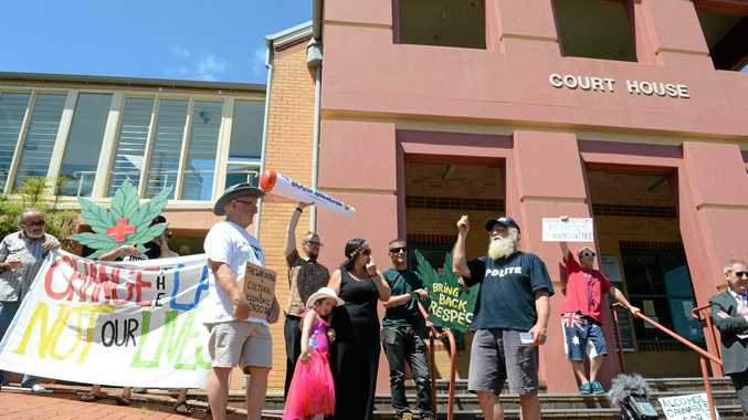 Michael Balderstone speaks to a group of protesters outside Lismore Court House against saliva testing for drug drivers.Photo Cathy Adams / The Northern Star