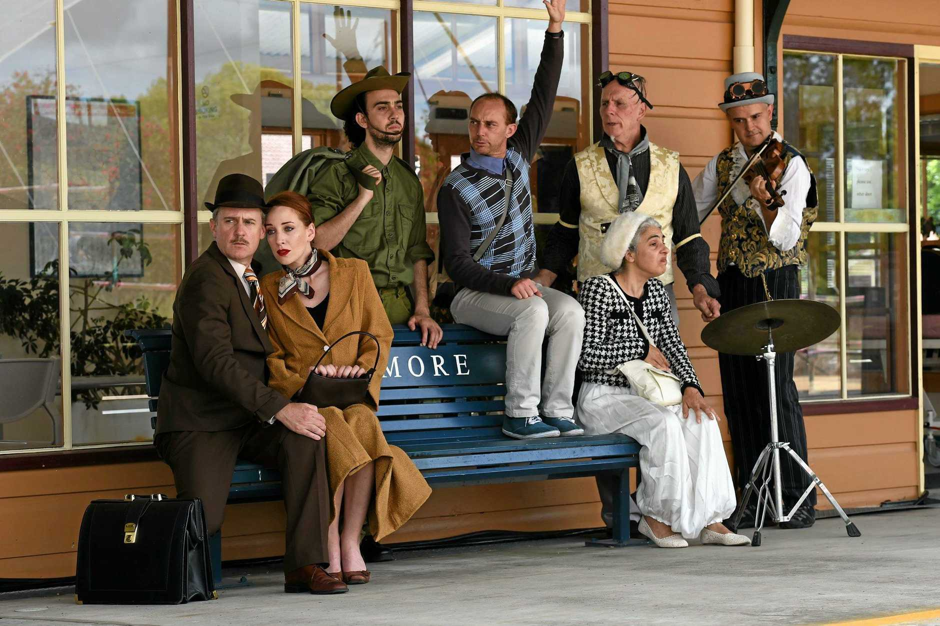 HIT: Jo Turner and Helen Christinson, Demetrios Sirilas, Phillip Blackman and Katia Molino with Shenton Gregory and Greg Sheehan in last year's Norpa production Railway Wonderland.