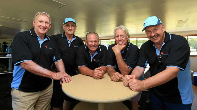 The Baggy Blues' Peter Lesley, left, with former NSW and Australian cricketers Len Pascoe, Steve Rixon, Jeff Thomson and Steve Small.