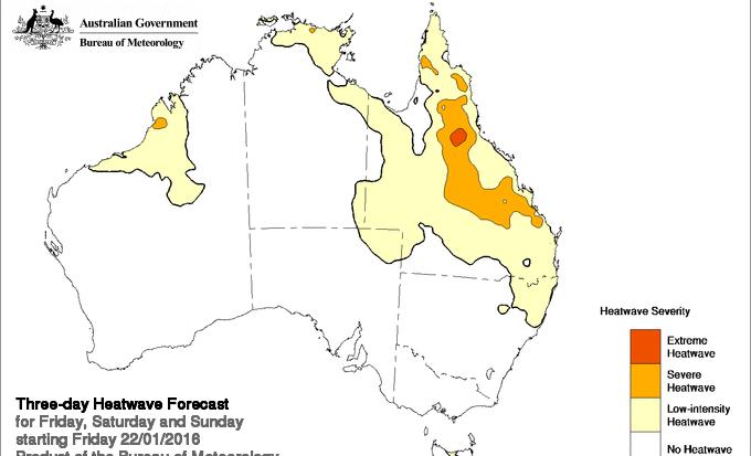 Three day heatwave map