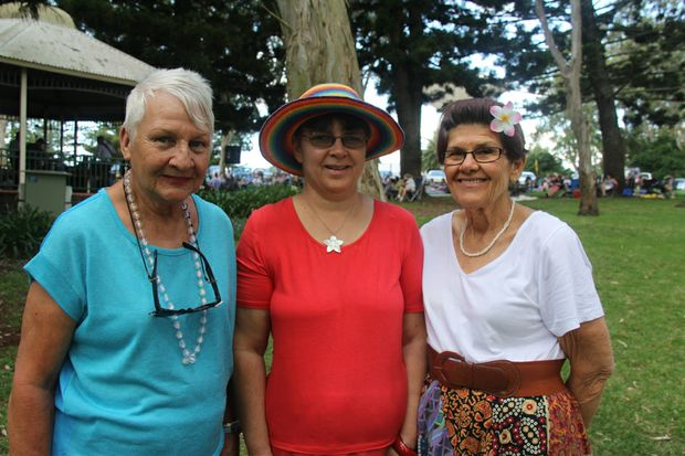 (Left to right) Beryl Johns, Rachel Shoman and Rhonda Glare enjoying The Damien Black Band at Toowoomba's Picnic Point Bandstand as part of the Summer Tunes in the Blooms series of concerts.