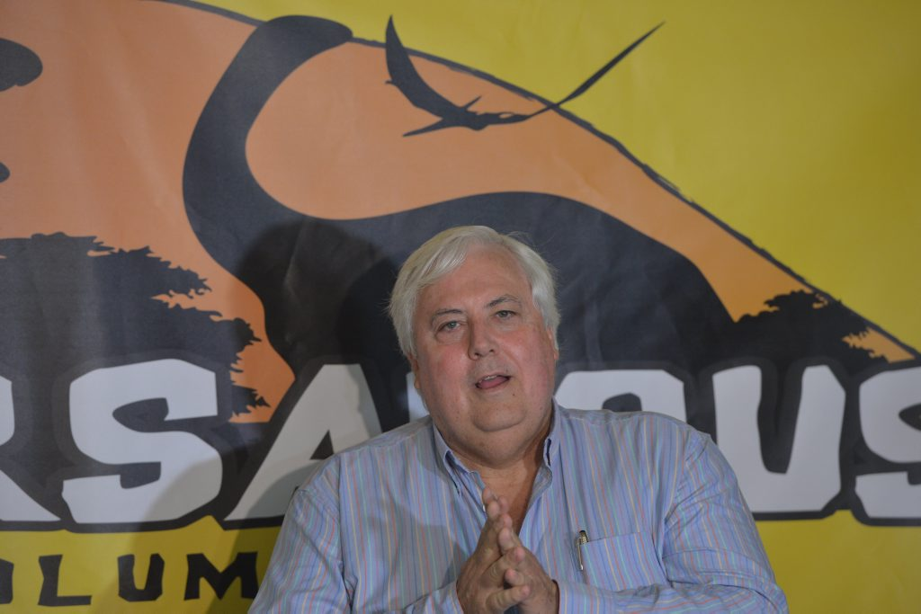 Clive Palmer at Palmer Coolum Resort for the opening of Palmersaurus in 2013.