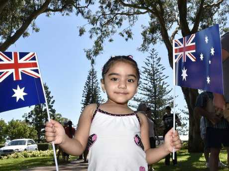AUSSIE AUSSIE AUSSIE: Waving Australian flags is four-year-old Fatima Al-lami at last year's Australia Day celebrations at Picnic Point.