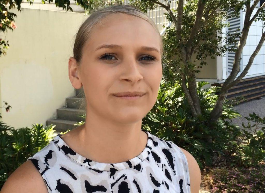 Former Coast woman Ellie Cardell, 20, speaks outside Maroochydore Magistrates Court. Photo Stuart Cumming/ Sunshine Coast Daily