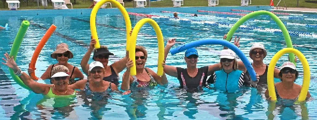 BUOYANT: Sue Shaw (bottom left) says she couldn't walk if it wasn't for her regular aqua aerobics sessions.