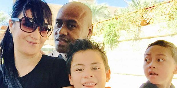 Nadene Lomu with Jonah and their children.