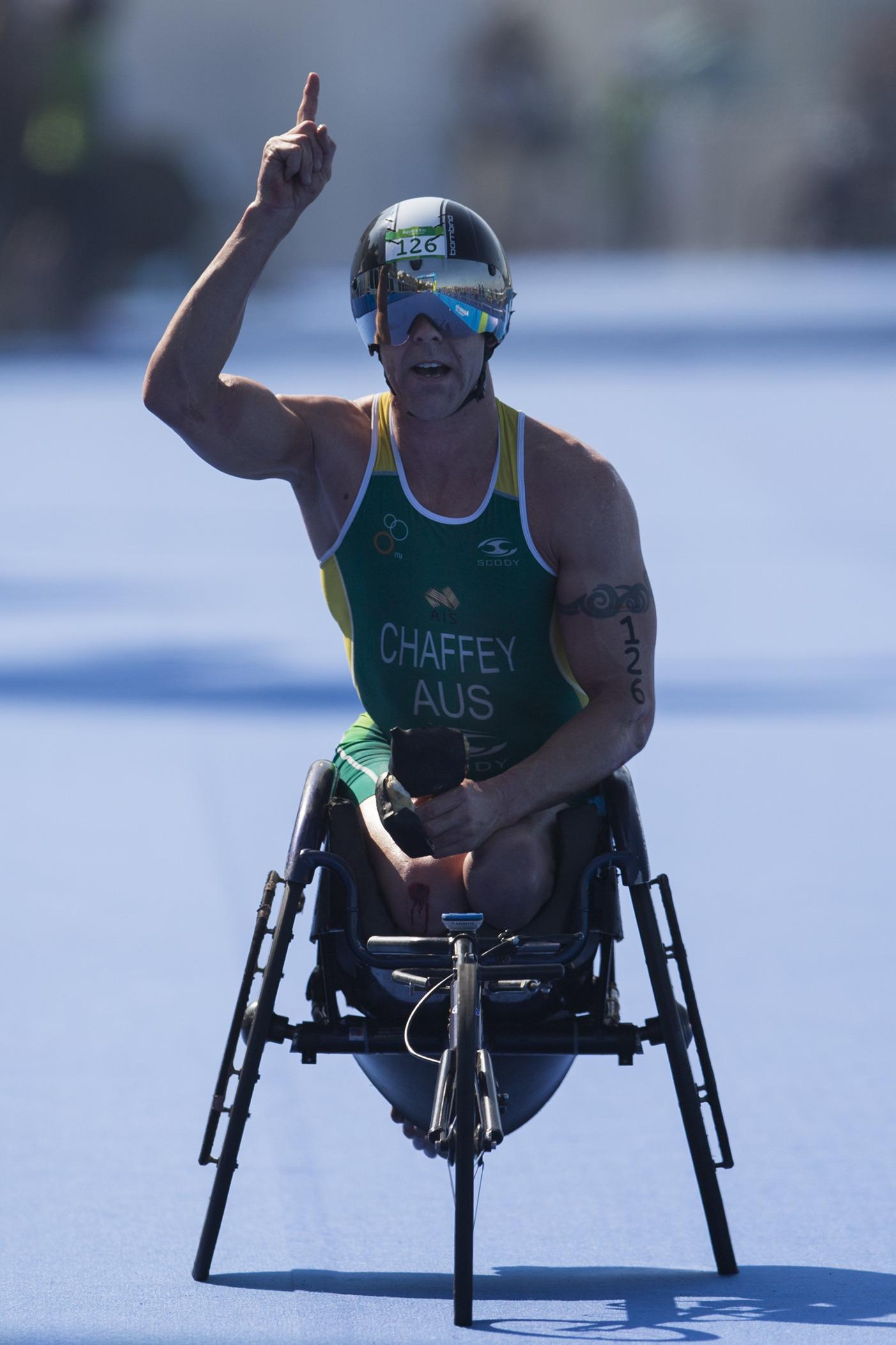 Bill Chaffey wins the paratriathlon test event in Rio last August.