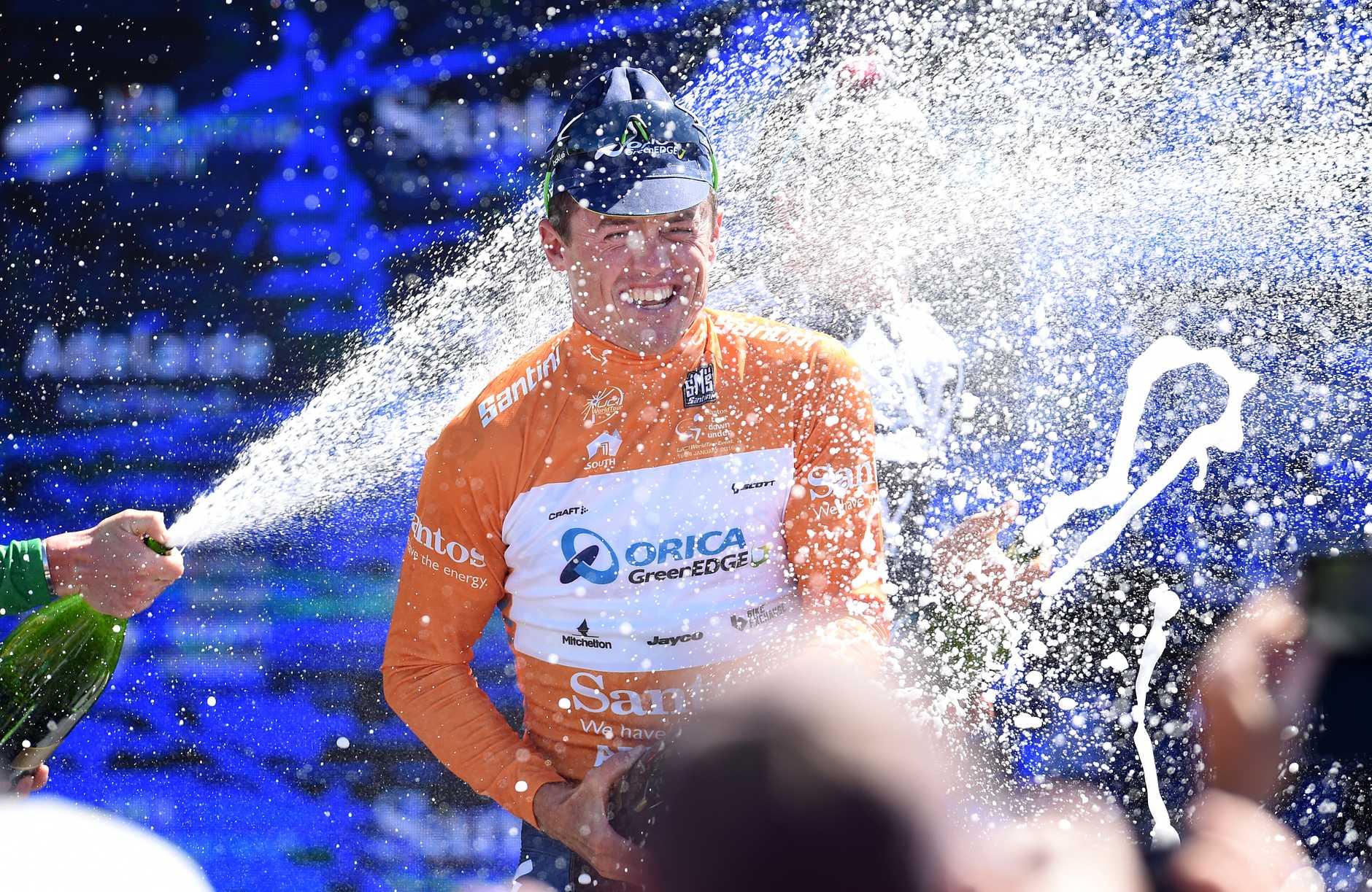Simon Gerrans celebrates his win yesterday in Adelaide. Photo: AAP Image.