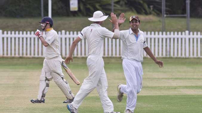 GOOD JOB: Wests' Zac Beveridge (middle) is congratulated by Daley Martin for taking the catch for the wicket of Northern Brothers Diggers batsman Jack Potter (left). Photo Nev Madsen / The Chronicle