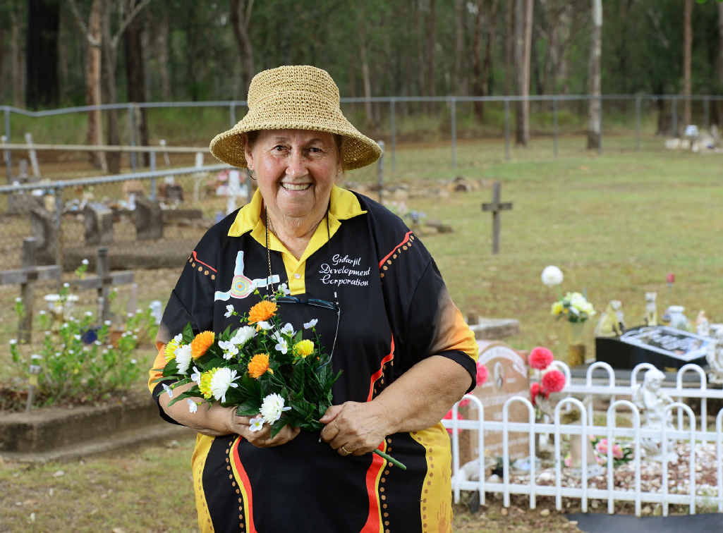 FAMILY LIFE: Citizen of the Year Award recipient Aunty Faye Carr at the Purga Aboriginal Cemetery.