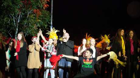 Former Queensland Music Festival artistic director James Morrison pictured centre during the Under This Sky concert in Logan.