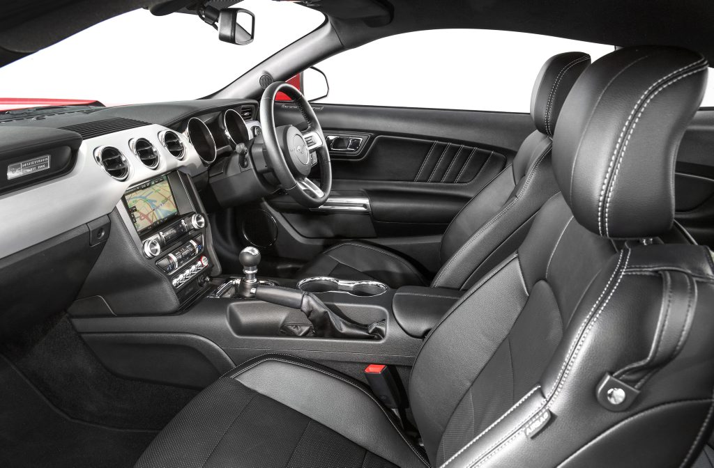 CABIN FEVER: Interior of the right hand drive 2016 Ford Mustangs
