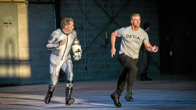 ACTION: Burnie Burns and Alan Ritchson in a scene from the film Lazer Team.