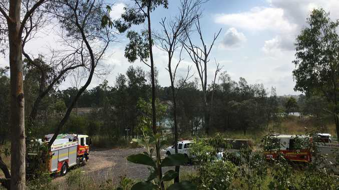 Rescue crews search for a missing person in Aqua Lake in bushland in Collingwood Park.