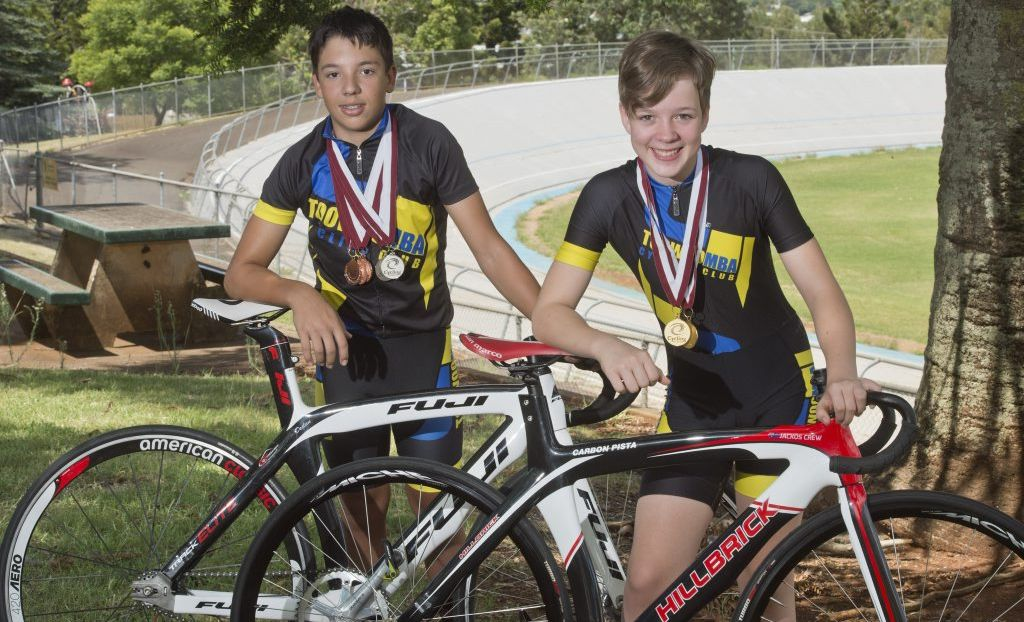 Toowoomba riders Declan Trezise and Emma Stevens back at training after scooping seven medals at Queensland Junior Track Championships.