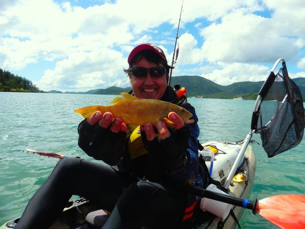 Scott Brodie with his first coral trout from the kayak.