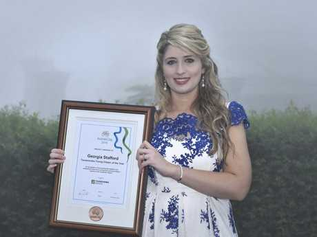 Toowoomba Young Citizen of the Year Award winner Georgia Stafford at the Australia Day celebrations at Picnic Point.