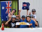 Pie eating competition at Rock Off Indoor Centre, Australia Day. Back L-F: New Zealand's Corey Atkins, 12, Pt Vernon's Tahj Dunn-Delfs, 5 and Urangan's Blake Franklyn, 11. Front L-R: Pt Vernon's Cooper Earle, 11, pie eating comp winner Pt Vernon's Nik Bartlett, 13 and Urangan's Lochy Schubach, 11.