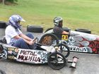 A close contest down the hill in the opening races of the open cart class at the Billy Cart derby at Maclean Showground.