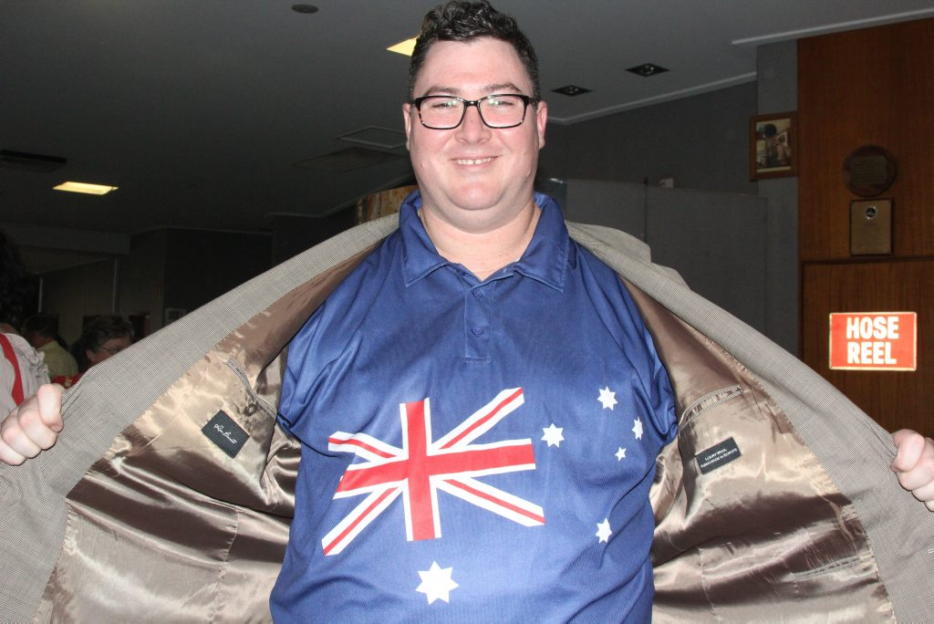 Federal Member for Dawson George Christensen gets into the spirit of the day in Proserpine yesterday. Photo Peter Carruthers / Whitsunday Times