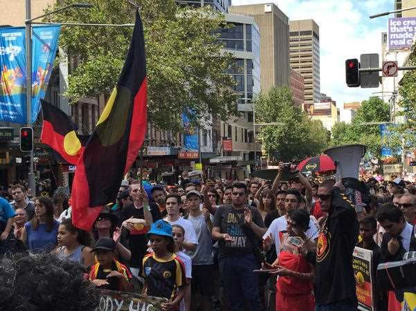 The Invasion Day march in Sydney from The Block in Redfern to Town Hall and then onto Australian Hall on Elizabeth St, Sydney on Tuesday, Jan. 26, 2016. Protesters mourned