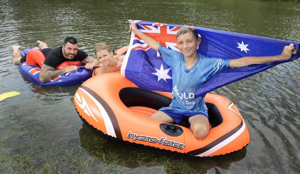 Peter O'Hanlon, and Nathan and Jacob Ring celebrate Australia Day at Colleges Crossing. Photo: Rob Williams / The Queensland Times