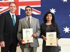 Fraser Coast Official Citizenship Ceremony, Hervey Bay Community Centre - Mayor Gerard O'Connell, Denagamuwe Senadhira and Sakunthala Ranatunge from Sri Lanka.