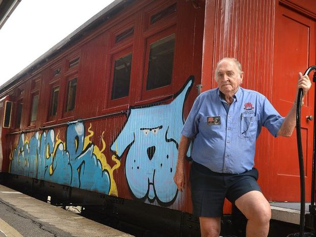 Damaged carriage Ron Stephens retired volunteer for the Valley Rattler. Photo Renee Albrecht/Gympie Times