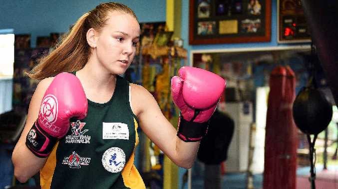 TEEN SPORTS STAR: Taleah Delfs, aged 16, will trip to Sweden in May to defend her Muay Thai world champion title. She has asked the community for sponsorship.