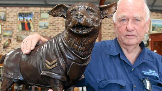 TRIBUTE: Ballina's Bert Elliott from Summerland Antiques and Garden Centre was commissioned to have a bronze sculpture made of Horrie the Wog Dog, which was a Second World War hero.