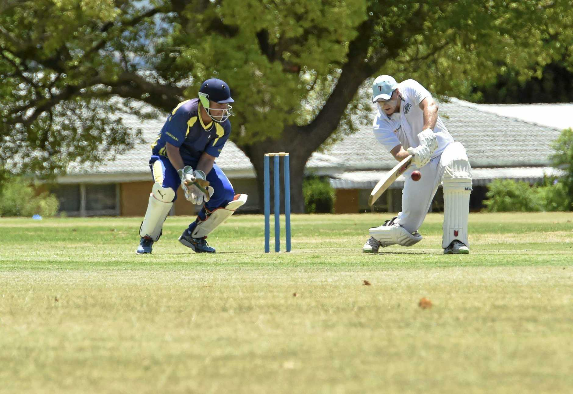 AT THE CREASE: Nick Gabbett bats for Toowoomba in the Plunkett Cup semi-final against Warehouse.
