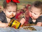 DOUBLE TROUBLE: Cassandra Leigh May Rowe (left) and Sophia Elizabeth May Anderson in the Vegemite smash.