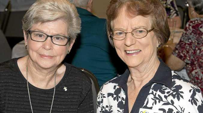 Nora Moreland (left) chats with Irene Earsman.